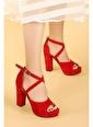 Ayakland Ayakland 3210-2058 Süet Abiye 11 Cm Platform Topuk Bayan Sandalet Ayakkabı Kırmızı
